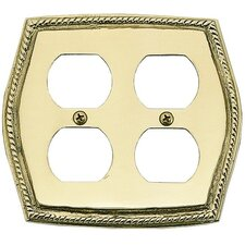 <strong>BRASS Accents</strong> Rope Double Outlet Switch Wall Plate