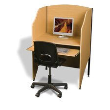 Teak Laminate Deluxe Floor Carrel Desk