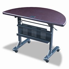 Flipper Training Table, Half-Round, 48w x 24d x 29-1/2h, Mahogany