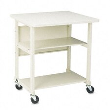 Heavy-Duty Mobile Printer Stand with Three Shelves, 27 x 25 x 27-1/2, Gray