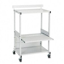 Stax Dual-Purpose Printer Stand with Three Shelves, 25 x 20 x 42-1/2, Gray