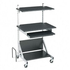 Fully-Adjustable Mobile Workstation, 30 x 24 x 52, Black Laminate Top (Box Two)