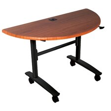 Cherry Lumina Half Round Flip Top Table