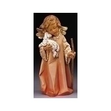 "<strong>Fontanini</strong> 8"" Woodtone Little Shepherd Angel with Lamb Figurine"