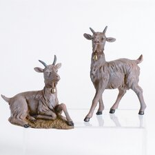 Two Piece Goat Figurine Set