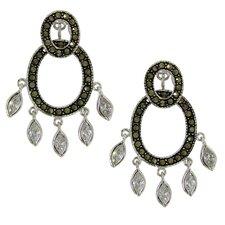 Sterling Silver Marcasite Dangle Earrings