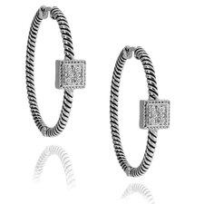 Diamond Square Hoop Earrings