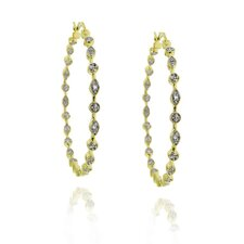 Two-tone Diamond Accent Hoop Earrings