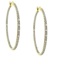 Two-tone Diamond Hoop Earrings