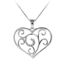 Sterling Silver Diamond Accent Heart Swirl Necklace