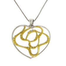 Sterling Silver and Gold Plated Diamond Accent Tangled Heart Necklace