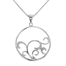Sterling Silver Swirl Accent Diamond Circle Necklace