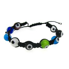 Woven Cord Evil Eye Bead Adjustable Bracelet