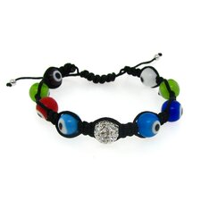 Woven Cord Evil Eye Beads Adjustable Bracelet