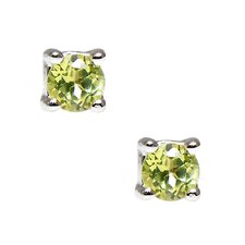 Round Cut Genuine Peridot Stud Earring
