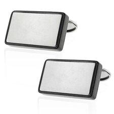 Stainless Steel Silver-Tone High Shine Polish Rectangle Cufflinks