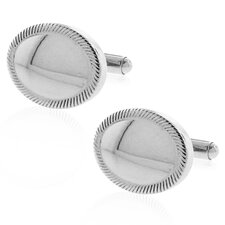 Stainless Steel Silver-Tone Plating High Shine Oval Cufflinks