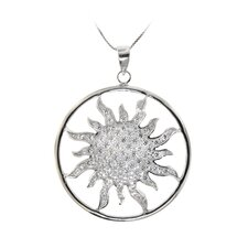 Sterling Silver Filigree Round Sun Cubic Zirconia Pendant Necklace