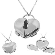 <strong>Moise</strong> Silvertone Hinged Heart Locket Necklace