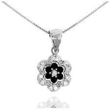 Sterling Silver Flower Cubic Zirconia Pendant Necklace