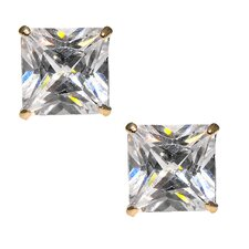 <strong>Moise</strong> 14kt Yellow Gold Clear CZ 7mm Square Princess Cut Stud Earrings