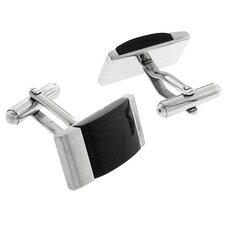 Stainless Steel Silver-Tone w/ Carbon Fiber Inlays Rectangle Cufflink