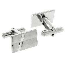 Stainless Steel Silver-Tone Mother of Pearl Finish Rectangle Cufflinks