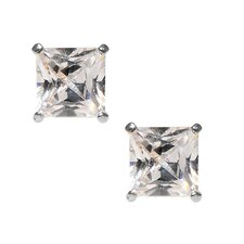 14kt White Gold Clear CZ 5mm Square Princess Cut Stud Earrings
