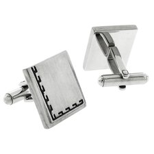 <strong>Moise</strong> Stainless Steel Silver-Tone Satin Finish Greek Key Square Cufflinks