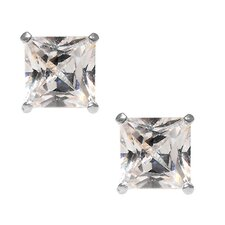 14kt White Gold Clear CZ 6mm Square Princess Cut Stud Earrings