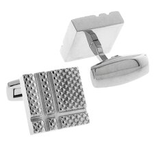 Stainless Steel Silver-Tone Satin Finish Riveted Texture Cufflinks