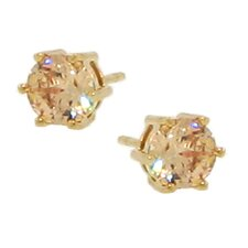 14kt Goldplated over Sterling Silver 925 Champagne Cubic Zirconia 6mm Stud Earrings