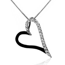 Black Rhodium over Sterling Silver 925 Two-tone Pave-set Clear Cubic Zirconia Cut-out Heart Shape Pendant Necklace - 18""