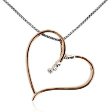Rose Goldplated over Sterling Silver 925 Cut-out Heart Shape Pendant Necklace - 18""