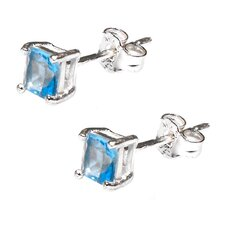 Sterling Silver 925 Swiss Blue CZ 4mm Square Princess Cut Stud Earrings