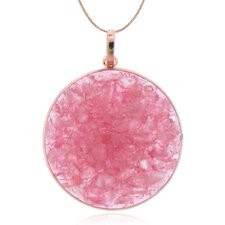 """Sterling Silver with High Shine Rose Plating and Crushed Rose Quartz 18"""" Pendant Necklace"""