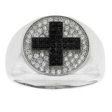 Brass Sparkling Micro Pave Cross Cubic Zirconia Ring