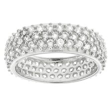 Brass Cubic Zirconia Eternity Wedding Band Ring