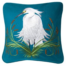I Sea Life Indoor Cotton White Egret Pillow