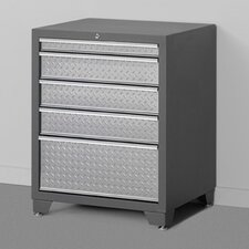 "Pro Diamond Plate 28"" Wide 5 Drawer Bottom Cabinet"