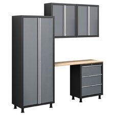 Bold Series 6' H x 7' W x 1.5' D 5-Piece Cabinet Set with Locker