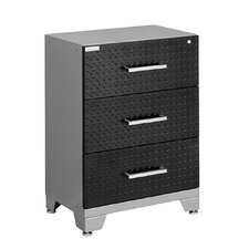 "Diamond Plate Performance Series 34.5"" H x 24"" W x 16"" D 3 Drawer Tool Base Cabinet"