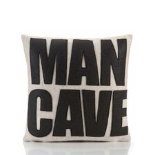 Man Cave Throw Pillow in White