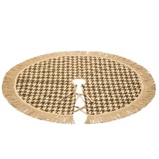"Burlap Christmas Tree Skirt with a 5"" Bulion Jute Fringe"