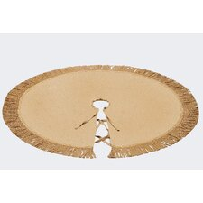 "Burlap Christmas Tree Skirt with a 5"" Buliion Jute Fringe.  Lined with Natural Linen Cotton.  60"" in Diameter."