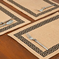 Greek Key Burlap Placemat (Set of 6)