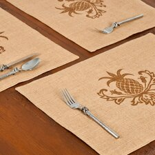 Pineapple Burlap Place Mat (Set of 6)