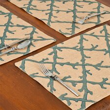 Coral Lattice Burlap Place Mat (Set of 6)