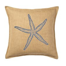 Starfish Print on Washed Cotton Canvas and Burlap Pillow