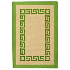 Green Greek Key Rug